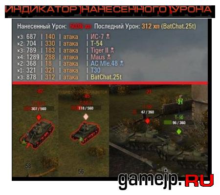 Индикатор нанесенного урона в бою в World of Tanks