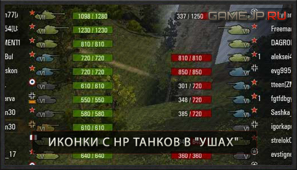 Прочность(HP) танков возле иконок для WoT 0.9.0