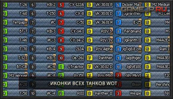 Иконки для всех танков WoT 0.9.0